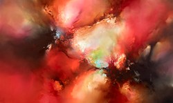 The Raging Blood Red Skies by Simon Kenny - Glazed Original Painting on Box Canvas sized 60x36 inches. Available from Whitewall Galleries